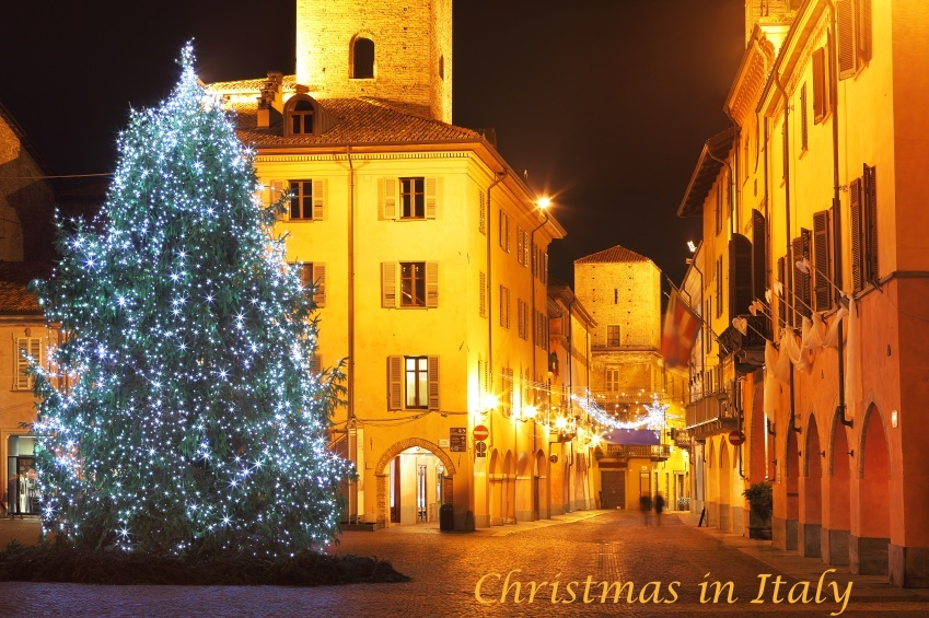 Christmas tree on central plaza. Alba, Italy.